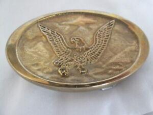 Eagle Belt Buckle Flying in Clouds Brass Plated Vintage