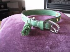 "JUICY COUTURE LEATHER DOG GREEN COLLAR & TASSEL SMALL BREED SIZE (12""-14"") £60"