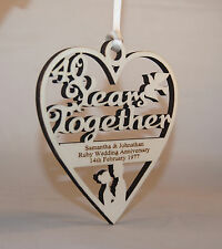 PERSONALISED 40 YEARS - RUBY WEDDING PLAQUE - ENGRAVED WITH YOUR OWN WORDING