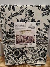 April Cornell 60 x 104 Felicity Black Floral Toile Tablecloth 100% Cotton