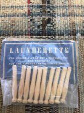 Vintage Launderette Wooden Clothes Pins With Original Advertising