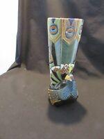 "Artesania Rinconada peacock Art Deco vase  10"" TALL"