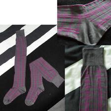 jambières chaussettes hautes 48cm carreaux Gris/Fuschia Lolita JAPON