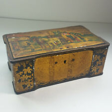 Unique Antique Metal Locking Box Tin Ball Bearing Casters Primitive Horse Buggy