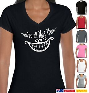 Funny T-Shirts We're all mad here Alice in wonderland Quote tee's Cheshire Cat