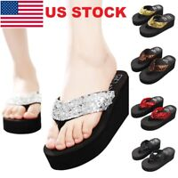 Women Wedge Sandals Sequin Summer Thong Flip Flops Platform Slippers Beachwear