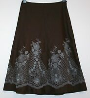 *MONSOON* GORGEOUS FLORAL EMBROIDERED LINED DAMASK SKIRT SIZE 10 WORN TWICE