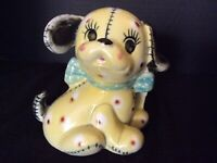 Vintage Nursery Pottery Stitched Puppy Dog Planter With Blue Bow Tie