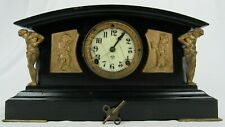ANTIQUE CAST IRON CLOCK rare ANSONIA antique mantel key FIGURAL CHERUB porcelain