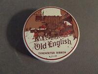 VINTAGE OLD ENGLISH TYPEWRITER RIBBON BLACK ADVERTISING RIBBON AND TIN