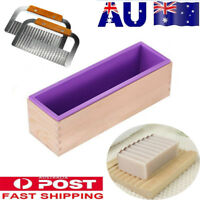 Rectangle Wood Loaf Soap Mould with Silicone Mold Cake Making Box W/ knives Kit