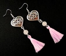 Tibetan Style Heart Pink Cotton Tassels with Pink Agate Gemstone Earrings #1382