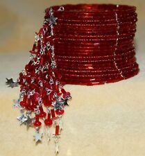 RED Boho Gypsy Hippie Tribal Belly Dance Dancing Expandable Beaded Bracelet