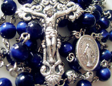 Tiger Eye Bead Tibet Silver Rose Beads ROSARY CROSS NECKLACE CRUCIFIX CATHOLIC