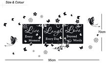 """Wall Quote Vinyl Decal """"Live every moment,Laugh every day,Love beyond words"""" Art"""