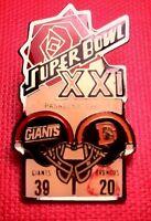 Vintage NFL Super Bowl XXI (21) Starline Collector Set Pin: Giants vs Broncos