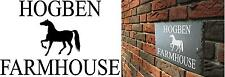 Natural Slate House Sign / Number made to your requirements with Horse Design
