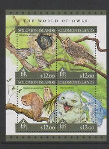 Solomon Islands - 2016, $12 x 4, World of Owls, Birds set - Block of 4 - MNH