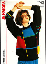 Retro Knitting Pattern, Patons, Ladies Sweater, 3039, 30-40in
