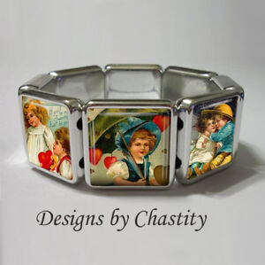 Retro Valentine Bracelet Stretch VTG Art Card Love Story Hearts Boy Girl Cupid
