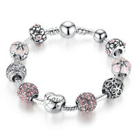 European 925 Silver Charms Bracelet with Pink CZ beads For Women Mother's Day