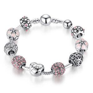 21cm DIY European 925 Silver Pink Crystal Beads Women Charm Bracelet Jewelry
