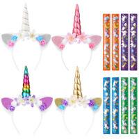 Nette Einhorn Haarbänder mit 8PCS Ringen für Mädchen Party Kopfschmuck Satz