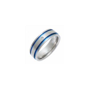 Titanium Flat Court Blue Grooved Matt Genuine 0.02ct Diamond 7mm Wedding Band