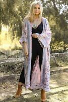 Bohemian Embroidered LAVENDER Multi-Color Long Floral Kimono Scarf Cover-up OS
