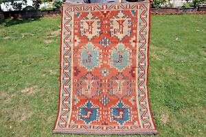 3.4 x 5.3 Feet Beautiful Deer Pattern Shirvan Caucasian Fine Quality Flat Weave