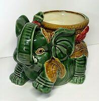 Fern Green Vintage Ceramic Trunk Up Elephant Figurine with Weaved Basket Planter