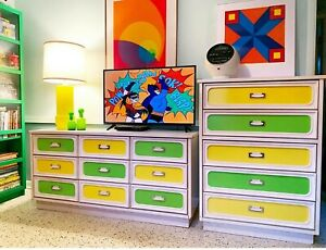 Vintage Space age Green and Yellow Dresser & Highboy Set Mid Century Modern