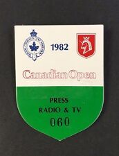 1982 PGA Canadian Open Golf Tournament Press Radio TV Badge Pass Abbey Course