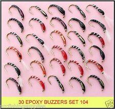 30 mixed EPOXY BUZZERS trout fly fishing flies new SET 104