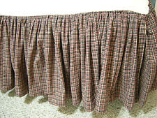 King Size Country Cabin Plaid Pleated Cotton Homespun Bed Skirt Dust Ruffle