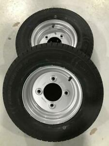 """2x 145R10 8Ply Rating trailer tyres Wheels 4 Stud 5.5"""" PCD 95mm Centre 145 80 10"""