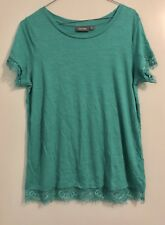 Brand New Sz S Jade Colour Top Lace Trims on Ends of Short Sleeves and Hem