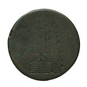 Georgian Spence's Engraved and Countermarked Halfpenny  Windmill / Full Bellies