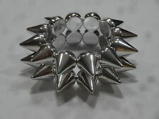 Silver Tone Double Row Spiked Stretch Goth Punk Bracelet