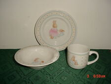 """3-PC HALLMARK CHILD'S """"BUNNY RABBIT"""" SERVING SET/PLATE-BOWL-CUP/WHT/CLEARANCE!"""