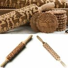 Rolling Pin Xmas Embossing Cookies Baking Roller Engraved Wooden Cake Dough Gift