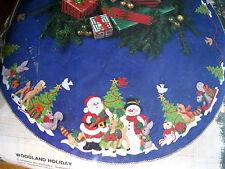 "Christmas BUCILLA Felt Applique Craft TREE SKIRT KIT,WOODLAND HOLIDAY,82928,43"""