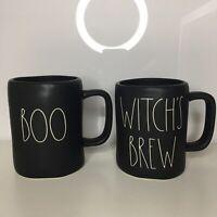New Rae Dunn Boo & Witch's Brew Matte Black 2018 Halloween Large Letter Mug Set