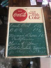 Vintage 1956 Coca-Cola Menu Chalk Board Sign   Antique Coke Soda Metal Embossed