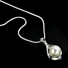 Fashion 925 Silver Jewelry Crystal Pearl Pendant Necklace Chain Women Gift TR