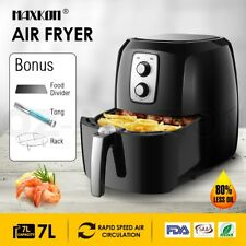 New 7L 1800W Turbo Oven Air Fryer Deep Cooker 80% Less Oil With Recipes Black