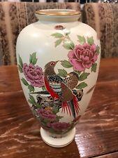 """Vintage Koshida Satsuma Japanese Vase Bamboo Bird 10"""" Tall VG SIGNED"""