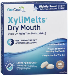 XyliMelts Dry Mouth  Slightly sweet MINT FREE Discs 40 count