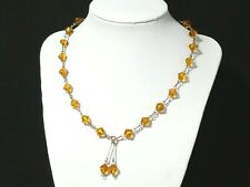 Link Bicone Amber Glass Bead Drop Necklace Vintage Art Deco Rolled Gold Wire Bar