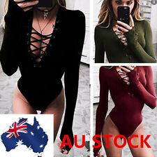Ladies Deep V Neck Lace Up Bodysuit Women Long Sleeve Catsuit Party Leotard AU
